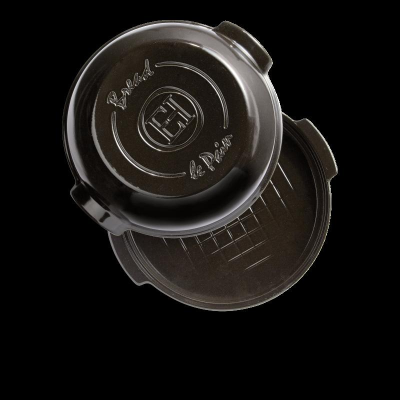 Cuoci pane in ceramica rotondo Emile Henry - 32 cm diametro - nero - scoperto