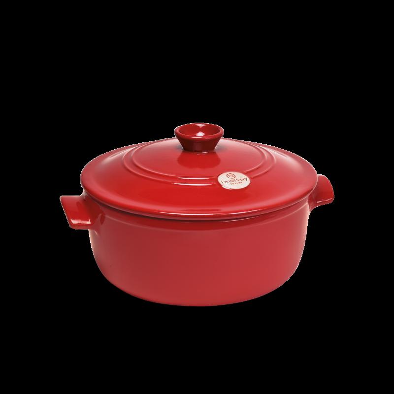 Cocotte in ceramica Emile Henry - rotonda - 32 cm diametro - rosso copert.