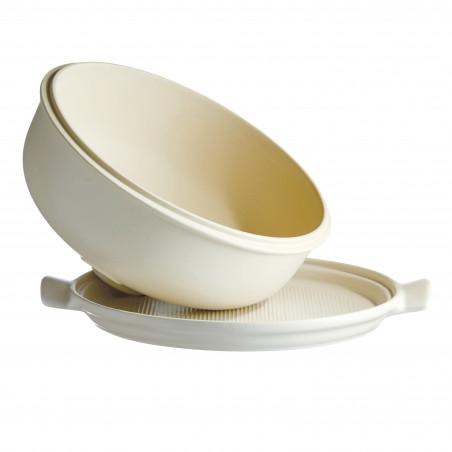 Cuoci pane in ceramica Emile Henry rotondo - 34 cm diametro - bianco 1